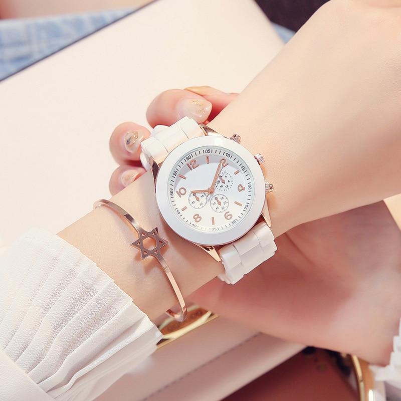 Relogio Feminino Neue Mode Casual Damen weiß Silikon Genf quarzuhr Damen Sport Digitale Uhr Urlaub Geschenk Chasy
