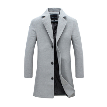 woolen coat men's autumn and winter new version of the fashion trench coat slim large size jacket long jacket men's overcoat