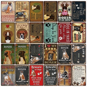 [ Kelly66 ] Dogs Rules Warning Overly Affectionate Boxer On Duty Metal Sign Home Decor Bar Wall Art Painting 20*30 CM Size DG-8