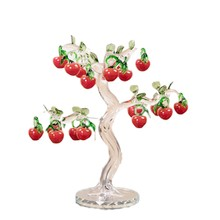Beatiful Crystal Red Cherry Apple Tree Figurines Crafts Fengshui Ornament Home Decoration Christmas New Year Gifts