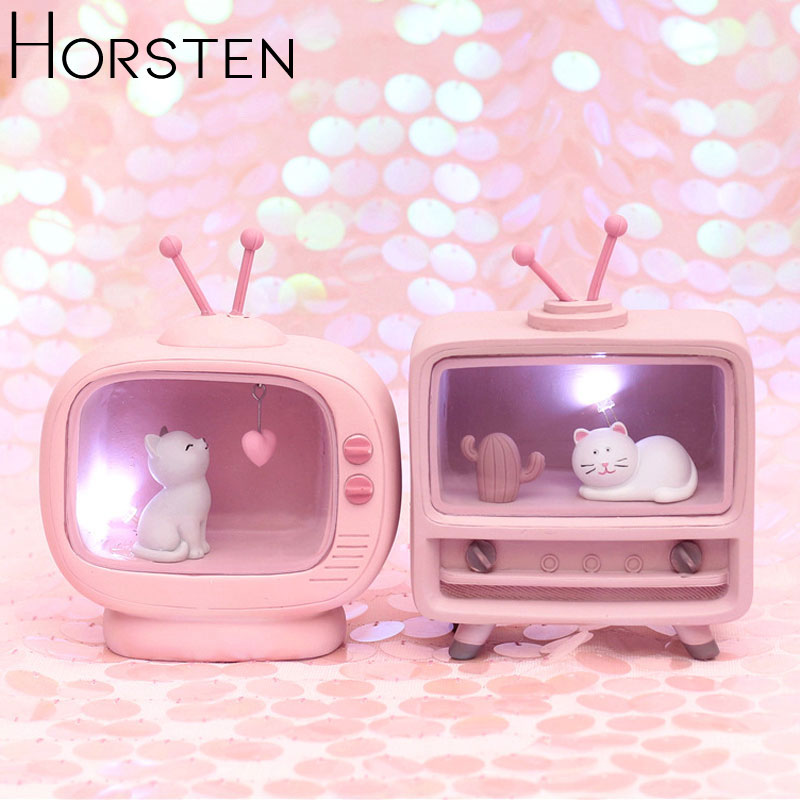 Cute Cat Home Decoration Night Lights Pink Color Baby Kids Resin Small Night Light Children's Bedside Lamp For Bedroom Xmas Gift
