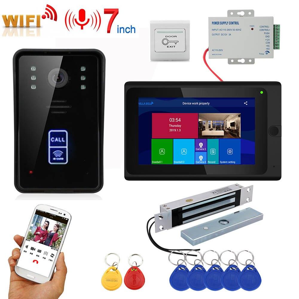 7inch Wireless Wifi RFID Video Door Phone Doorbell Intercom Entry System With 280kg 600BL Mortise Mount Door Magnetic Lock