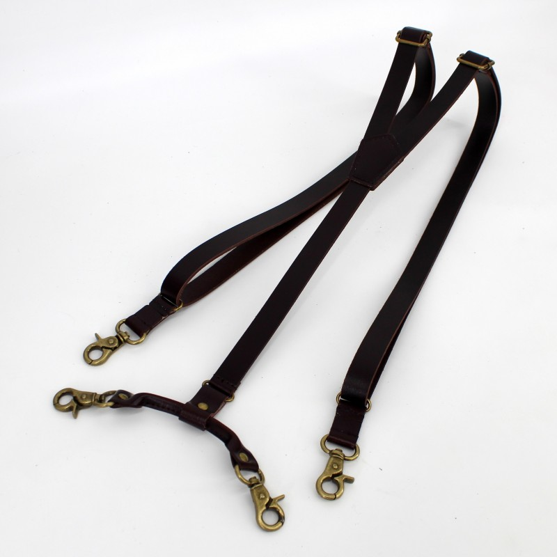 1.7cm High Quality Real Cowhide Split Leather Strap Women Men Unisex Hook Suspenders
