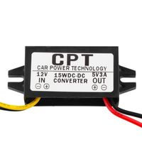 Balight Car Power Converter Lightweight LED Display Charger Regulator Compact 12V To 5V 3A 15W