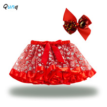 Girls Skirt Mesh Sequined Toddler Children with Bow Holiday Performance-Costume Elk Tree