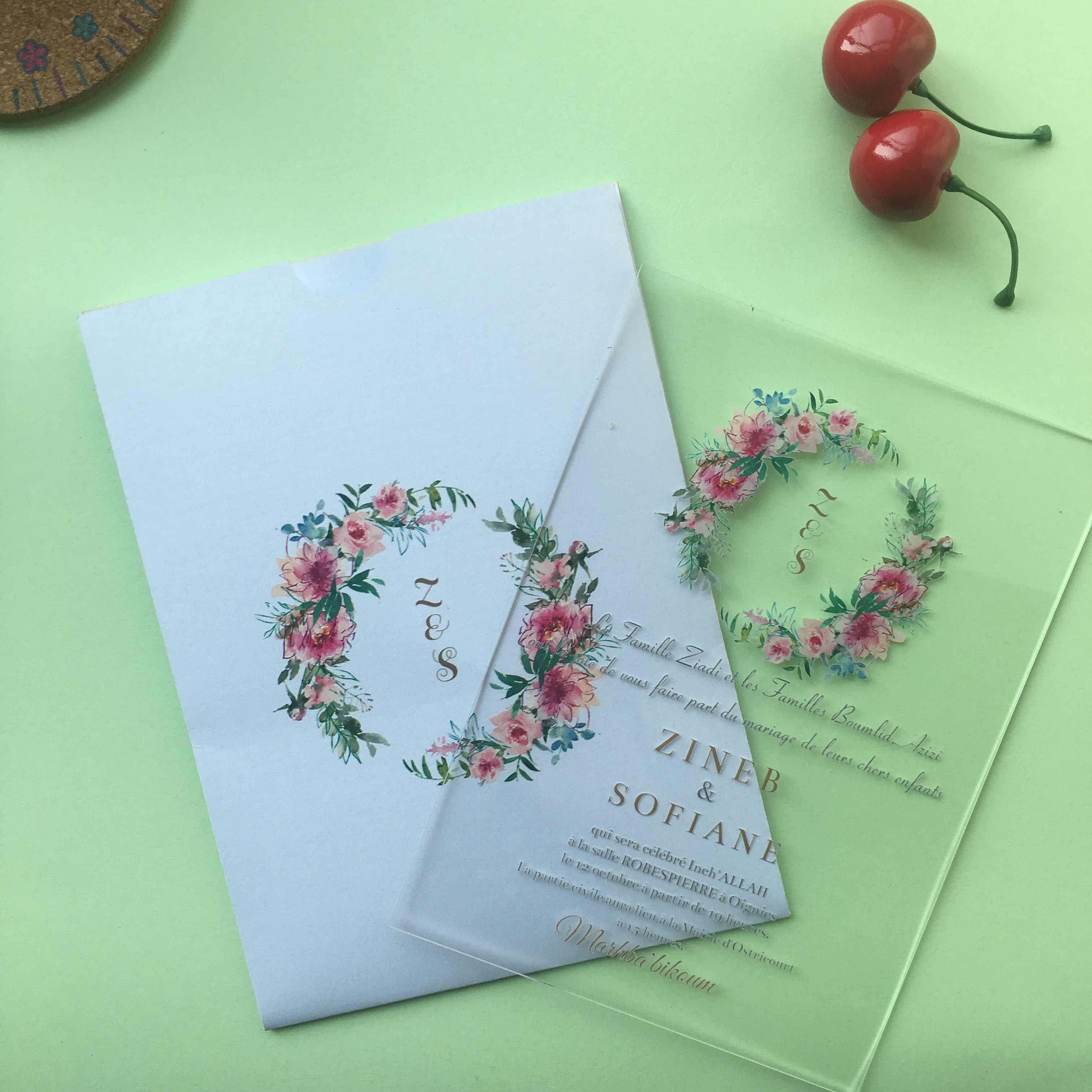 5pcs Super Elegant Flower Acrylic Invitation Card With