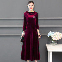 Hotsale 2019 Autunm long sleeve Elegant velour dress.fashion office lady party dress plus size Winter maxi velvet dress 6XL 7XL