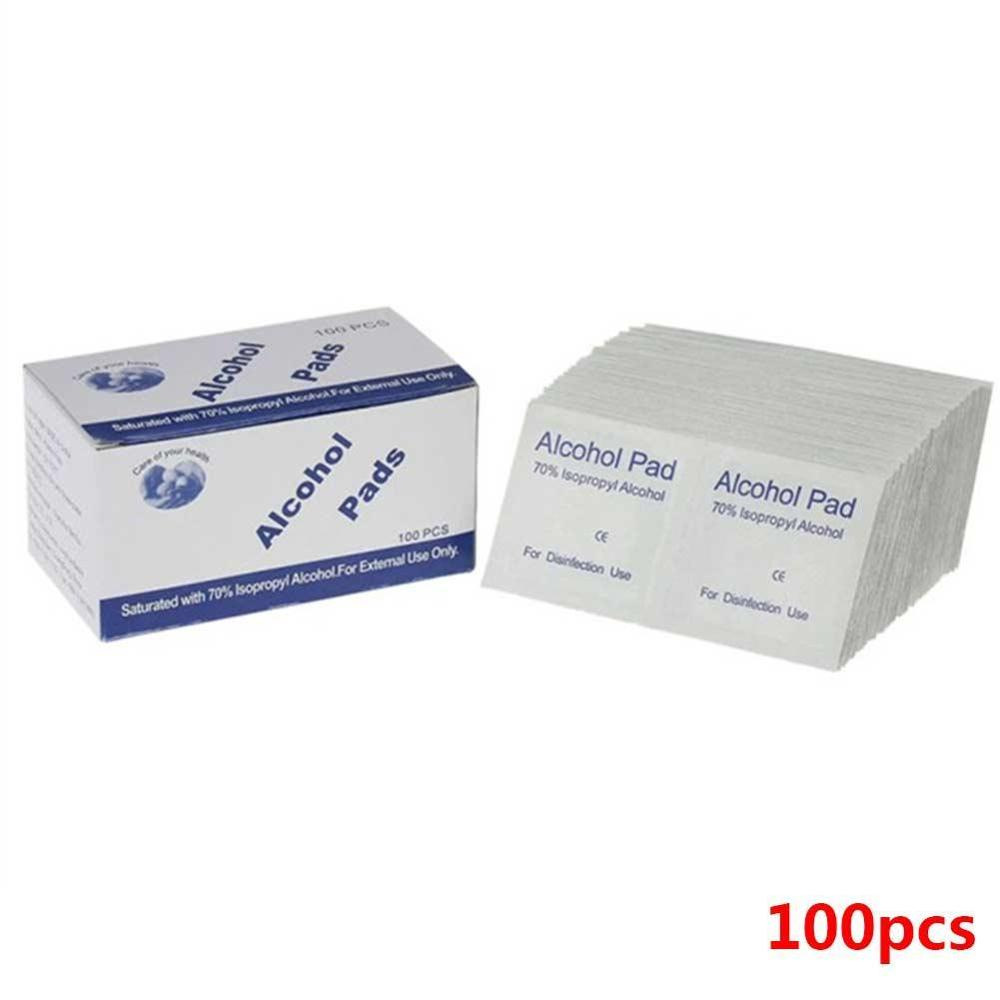 100Pcs/Box Professional Alcohol Swabs Pads Wet Wipes Disinfection Swap Skin Pad Sterilization Disposable Cleanser Antisepti X3Q3