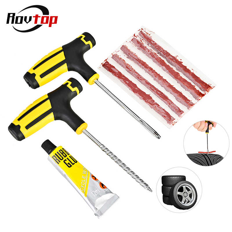 Rovtop Car Tire Repair Kit Auto Bike Car Tire Tyre Cement Tool Puncture Plug Practical Hand Tools for Car Truck Motorbike Z4