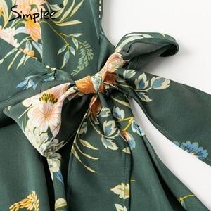 Image 5 - Simplee אלגנטי פרחוני הדפסת סאטן נשים שמלה לעטוף v צוואר גבוה מותניים קיץ שמלות סקסי עניבת פרפר ירוק מזדמן נקבה vestidos
