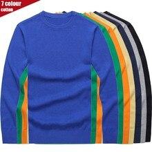 Мужской пуловер с круглым вырезом, хлопок, Однотонный свитер, осень и зима, Повседневный свитер с длинными рукавами для мужчин M-3XL
