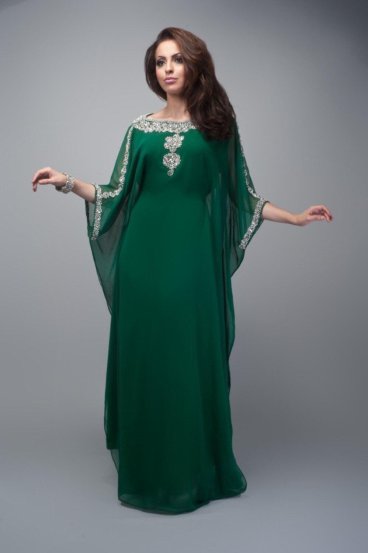 2018 Muslim Emerald Green Appliques Beaded Muslim Arabic Dubai Fancy Islamic Women Evening Gown Mother Of The Bride Dresses