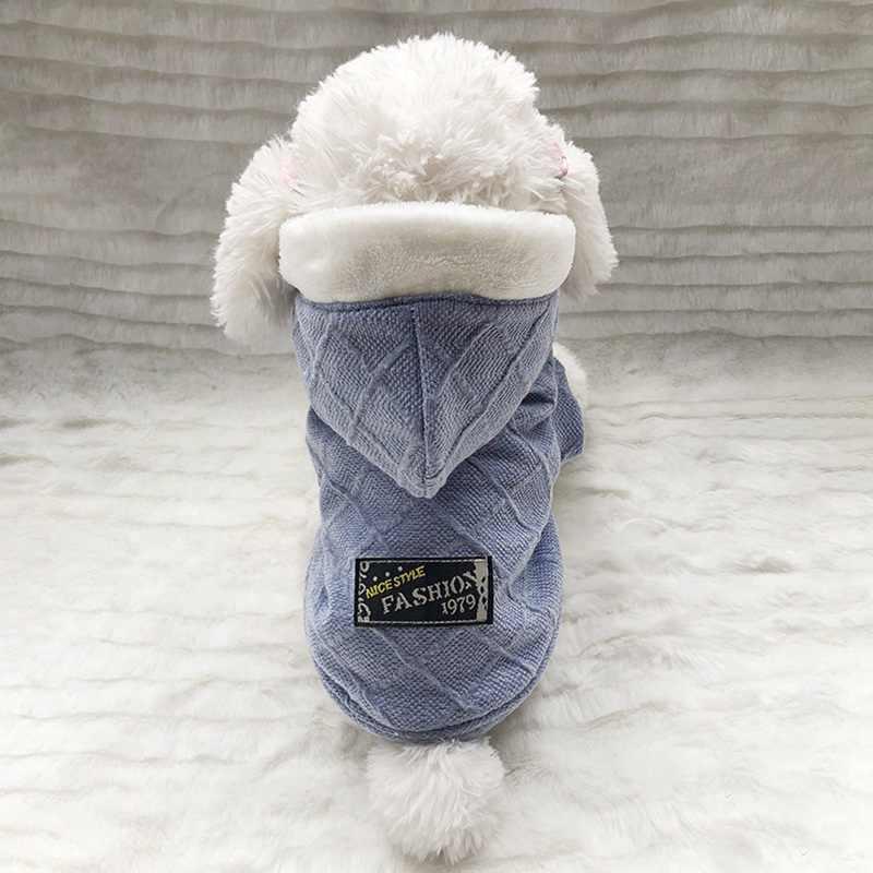 가을 겨울 애완 동물 강아지 옷 개를위한 따뜻한 짙은 양털 코트 강아지 후드 자켓 치와와 yorkie pug 의류