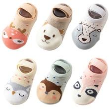 Носки для малышей хлопковые нескользящие носки с героями мультфильмов для детей ясельного возраста, осень-весна, модные милые носки для новорожденных с животными для детей от 0 до 6 до 12 месяцев