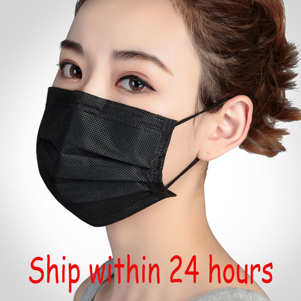 20/50/100pcs 3 Layers Black Activated Mask Mouth Bamboo Carbon Prevent Anti-Dust Bacteria Mouth Civil Face Mask Repeatability