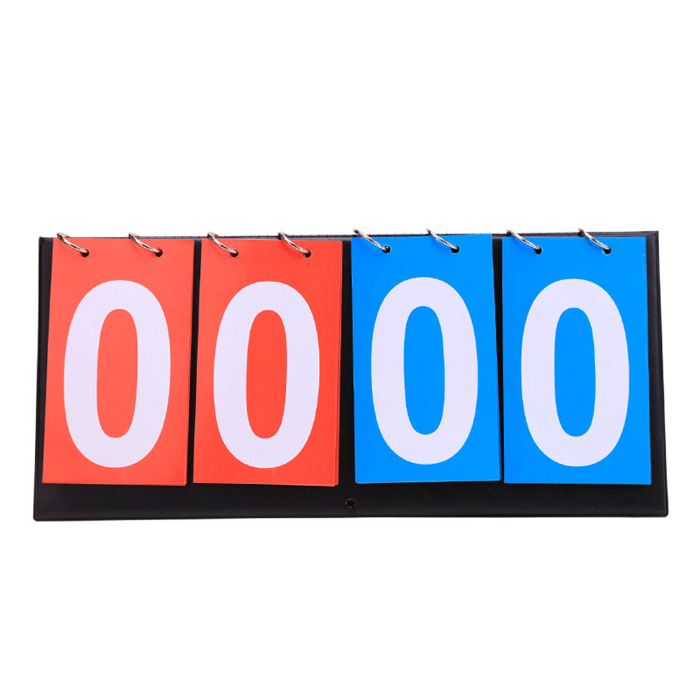 Basketball Count Down Table Tennis Scoreboard Flip 4 Digit Team Sport Football Competitions Foldable Double-sided Ring Manual