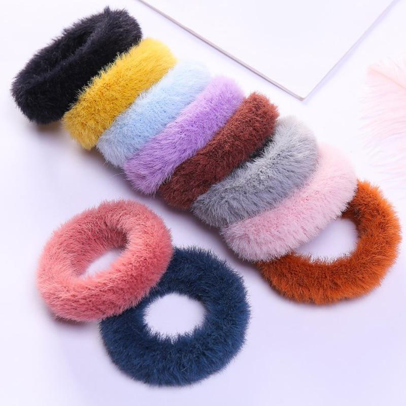 Children Elastic Plush Hair Ring Girls Elastic Faux Rabbit Fur Scrunchie Solid Color Hair Rope Ponytail Holder Hair Accessories