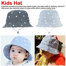 Boys Girls Star Bucket Hat Denim Cotton Toddler Kids Tractor Cap Soft Summer Baby Sun Infant