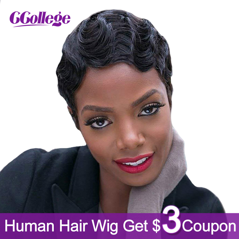 Ccollege Finger Wave 100% Remy Human Hair Pixie Cut Wig Peruvian Short Bob Wigs For Black Woman Non Lace Closure Frontal Wig