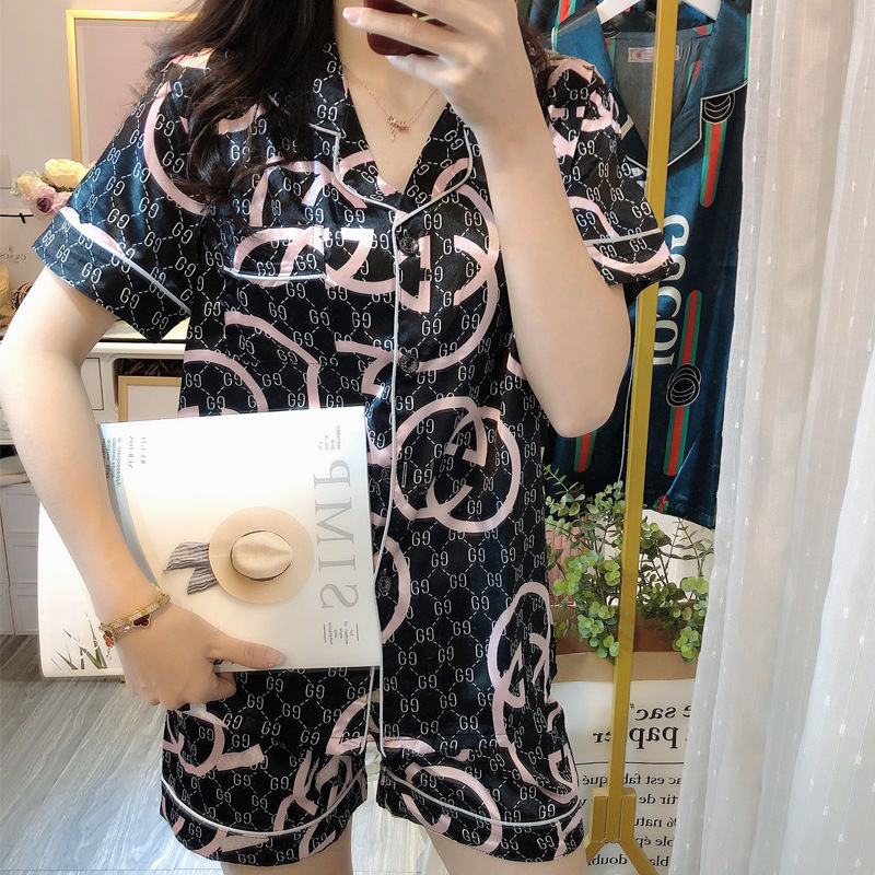 Women's Summer Pajamas Set Ice Thin Short Sleeves Sleepwear Cool And Comfortable Ladies Shorts Luxury Sexy Clothes Polyester