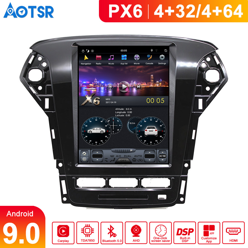 Gps Navigation Android 9.0 Tesla style For Ford Mondeo/Fusion MK4 11-14 Head Unit Car Media Player Multimedia System big screen image