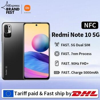 [Lançamento mundial Em estoque] Xiaomi Redmi Note 10 5G NFC Versão global Smartphone Dimensity 700 90Hz FHD+ Tela 5000mAh 48MP Câmera 1
