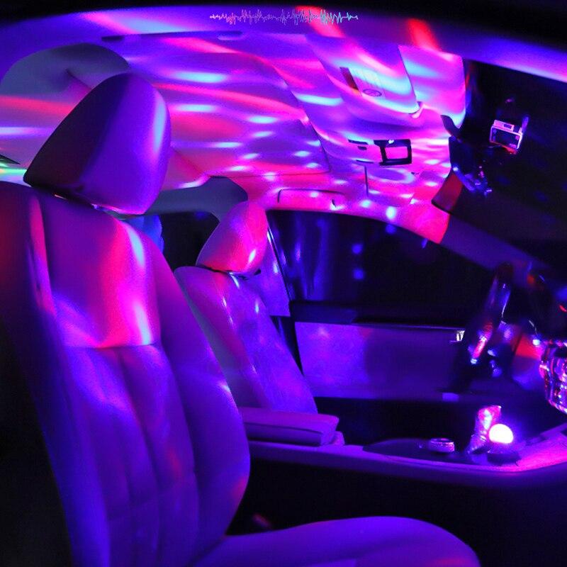 Usb mini luz do palco de música luz mostrar clube discoteca dj luz projetor laser controle de som cristal magia bola efeito luzes