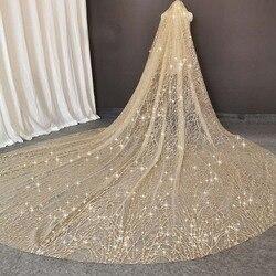 Luxe mousseux Champagne mariage voile 3 M de Long lourd paillettes paillettes poussière mariée voile avec peigne voile pour mariée