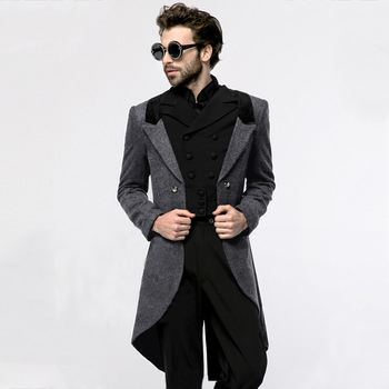 mens wool coats 2020 new hip hop slimming single-breasted men's tweed coat mid-length trench coat