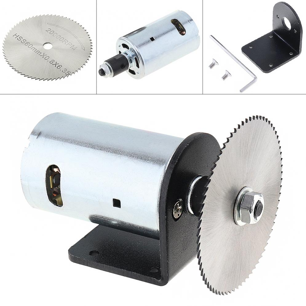 24V Electric Saw 555 Motor Table Saw Kit with Ball Bearing Mounting Bracket and Saw Blade for Cutting / Polishing / Engraving