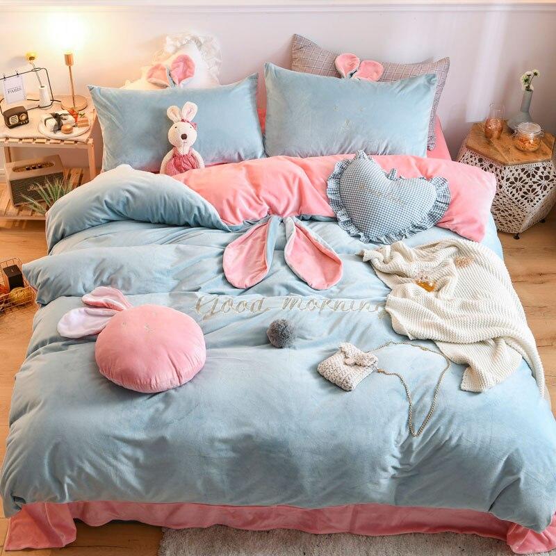 Набор постельных принадлежностей для девочек, зимний теплый флисовый фланелевый бархатный набор с вышивкой заячьими ушками, пододеяльник,