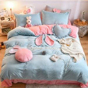 Набор постельных принадлежностей для девочек, зимний теплый флисовый фланелевый бархатный набор с вышивкой заячьими ушками, пододеяльник, ...