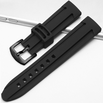 22mm 24mm Silicone Watch Band Strap Sport Soft Diving Rubber Clock Watchbands Stainless Steel Pin Buckle Bracelet Accessories 24mm silicone rubber watch band for sony smartwatch 2 sw2 dual brush 316l stainless steel buckle strap wrist belt bracelet black