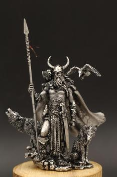 Nordic Mythology One-eyed White Long Whiskers Odin Wearing Helmet Gold Armor Gungnir Tin Metal Magical Soldier Model Figurines