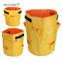 MUCIAKIE 1PC Yellow Strawberry Grow Bags PE 3/6/8 Pockets Garden Plants Vegetables Planter Pouch Bags with Handles