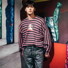 Knitted Sweater with Colour-impact Stripes Autumn 2019 Cartoon Jacquard Pattern Mohair Pullovers Women