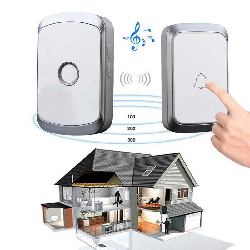 A20 Wireless Doorbell doorbell AC 100 240V 300M ไร้สายประตูระฆัง 36 Chimes Home Office Security UK Plug