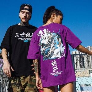 Image 5 - Женские китайские футболки со змеиным принтом, уличная одежда в стиле Харадзюку, весна лето 2020, футболки с коротким рукавом, хлопковые футболки