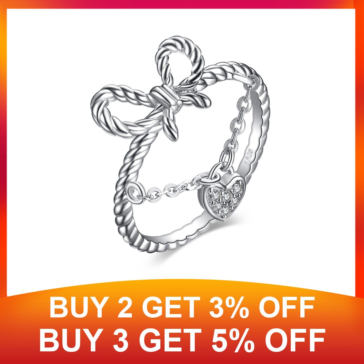 JewelryPalace Heart Cubic Zirconia Rope Kont Bow Stackable Ring 925 Sterling Silver Fine Jewelry best gift for women hot selling in Rings from Jewelry Accessories