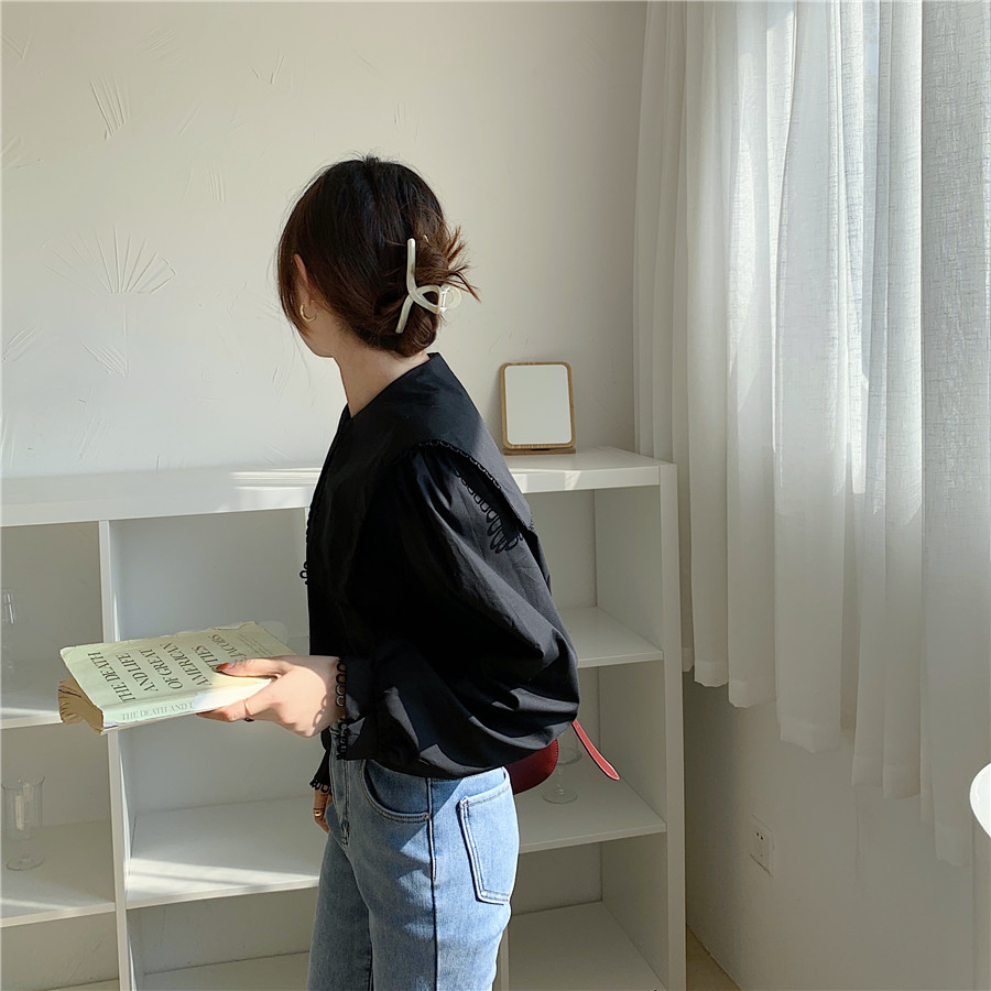 H30b1c74532f7439c97aadd253209bef9v - Spring / Autumn Puritan collar Long Sleeves Solid Blouse