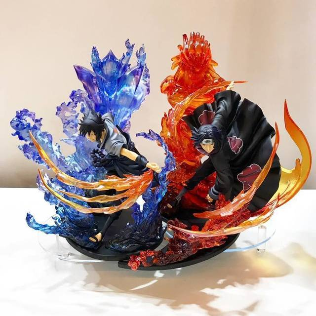Anime Naruto Uchiha Brother Itachi Fire Red VS  Sasuke Susanoo Blue PVC Action Figure Collection Model Toy 21cm