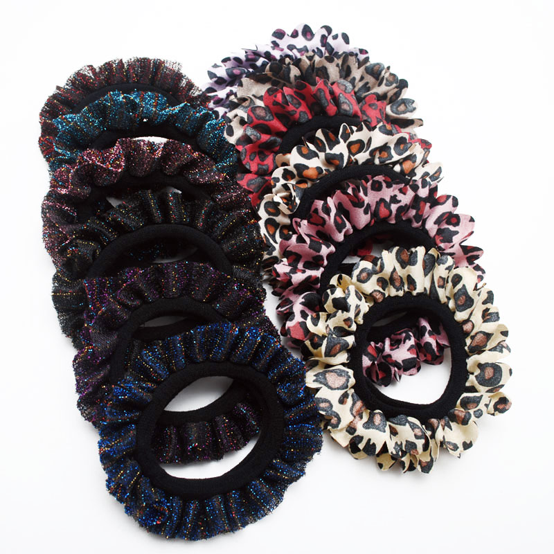New Women Glitter Lace Hair Scrunchies Lady Hair Gum Leopard Elastic Hair Bands Tie Gift Accessories Ring