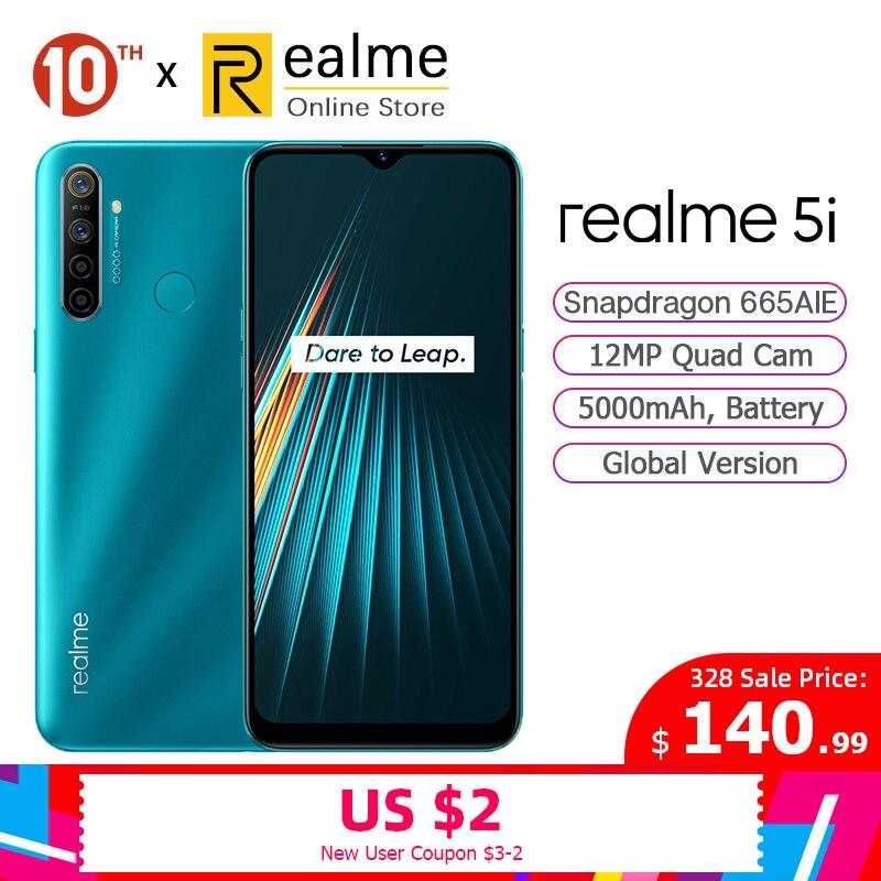 Global Version Realme 5i Smartphone 4GB 64GB Mobile Phone Snapdragon 665 AIE 6.5'' Mini-Drop 12MP Quad Camera 5000mAh Android P