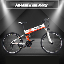 Folding electric bicycle, 26-inch mountain bike,48V500W 50km super power lithium mountain bike 10. 4 ah moped、 Wire wheel
