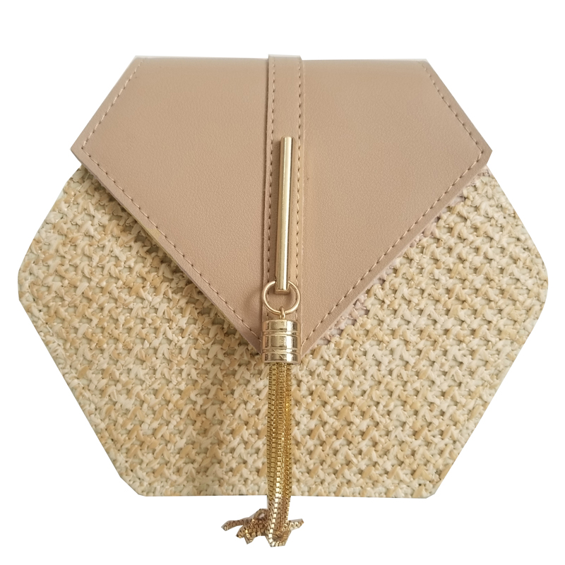 VIP Hexagon Mulit Style Straw+leather Handbag Women Summer Rattan Bag Handmade Woven Beach Circle Bohemia Shoulder Bag(China)
