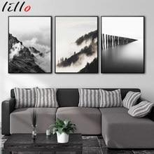 Céu nublado montanha floresta imagem natureza escandinavo cenário nórdico cartaz decoração paisagem impressão da parede lona