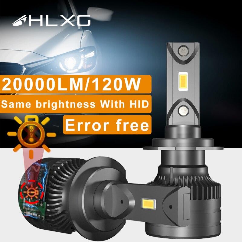 HLXG h4 светодиодный Canbus 20000LM luces светодиодный H8 H9 H11 9012 H7 светодиодный HB3 9005 9006 HB4 светодиодный головной светильник лампы 6000K 12V автомобильный све...