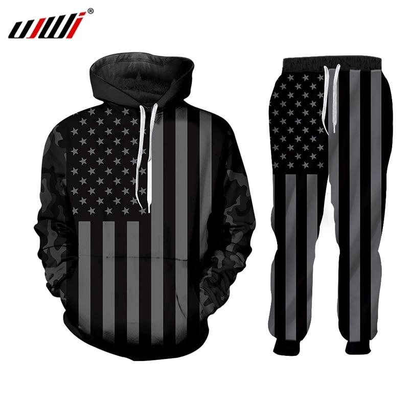 UJWI American Flag Camouflage Autumn Men Hoodie 3D Print 2 Piece Set Jacket Hip Hop Style Ha Sports Harajuku Hooded Long Sleeve