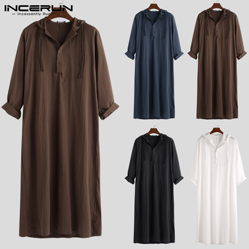 Muslim Robe Hoodies Kaftan Dressing Mens Saudi Arab Dubai Long Sleeve Thobe Arabic Long Islamic Jubba Thobe Man Clothing 2020 Men Men's Clothings Men's Kaftan cb5feb1b7314637725a2e7: Beige Coffee Navy black