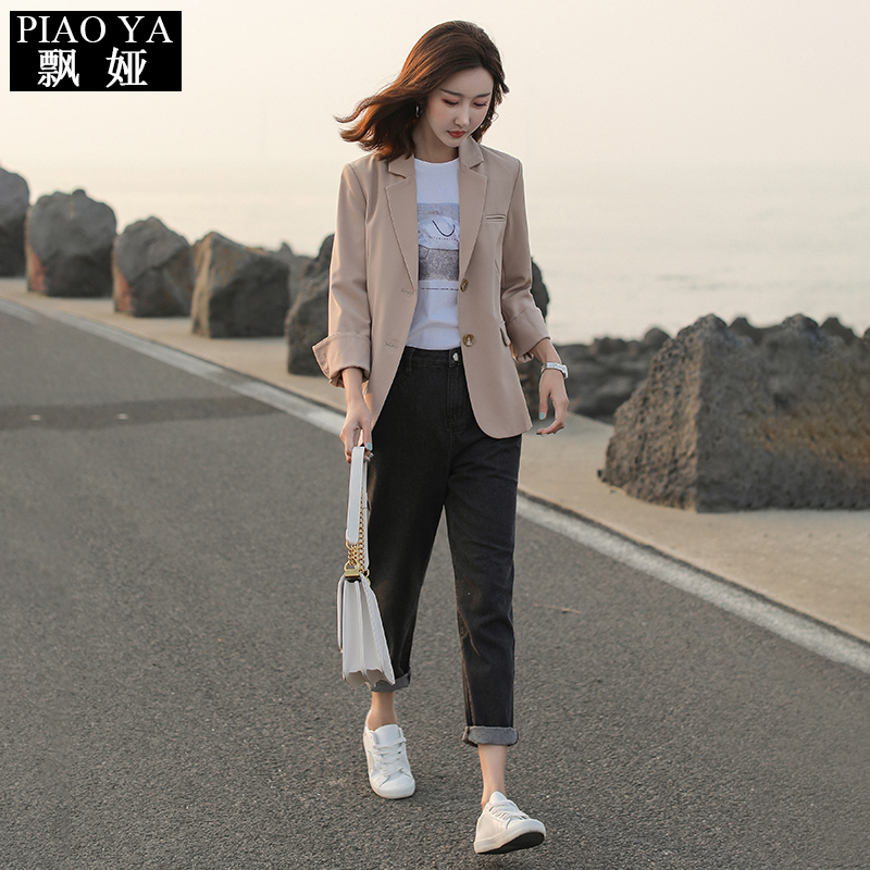 Vintage Korean Ladies Blazer Loose Casual Stylish Suit Jacket Solid Beige Long Sleeve Office Women Blazer Spring Autumn MM60NXZ